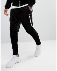 Sixth June - Skinny Joggers In Black Velour With Logo - Lyst