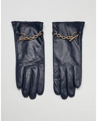 Barneys Originals - Real Leather Gloves With Chain Detail - Lyst
