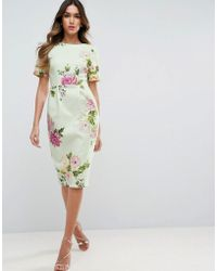 ASOS | Wiggle Dress In Floral Print | Lyst