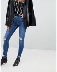 Miss Selfridge - Distressed Hem Skinny Jeans - Lyst