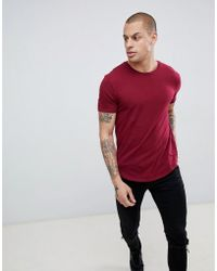 Religion - Muscle Fit T-shirt With Dropped Hem In Red - Lyst