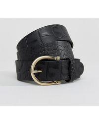Warehouse - Leather Croc Skinny Belt - Lyst