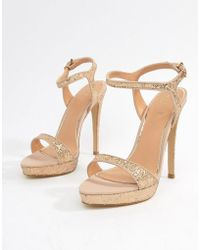 Lipsy - Glitter Barely There Heeled Sandal - Lyst