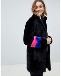 Barneys Originals Barney's Originals Colour Block Sleeve Faux Fur Coat