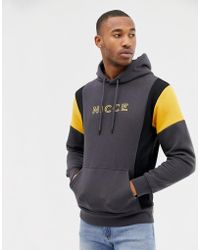 Nicce London - Nicce Hoodie In Grey With Contrast Panels - Lyst