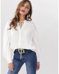 7a95bdb4d4 ASOS - Casual Smock Long Sleeve Shirt In Textured Stripe - Lyst