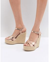 Office - Wonder Rose Gold Espadrille Wedges - Lyst