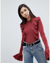 Fashion Union - Jumper With Frill Sleeve And Ruffle Front - Lyst