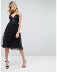 Needle & Thread - Embellished Tulle Midi Dress With Cami Straps - Lyst