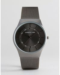 Christin Lars - Gunmetal Watch With Round Black Dial - Lyst