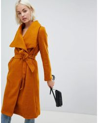 Girls On Film - Tie Front Waterfall Coat - Lyst