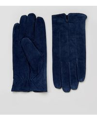Barneys Originals - Barneys Suede Gloves In Navy - Lyst