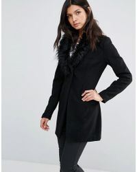 Little Mistress - Coat With Faux Fur Collar - Lyst