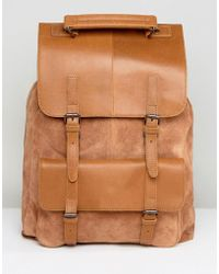 ASOS - Backpack In Tan Leather & Suede Mix - Lyst