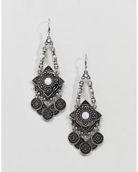 ASOS - Design Engraved Shape And Coin Stone Drop Earrings - Lyst