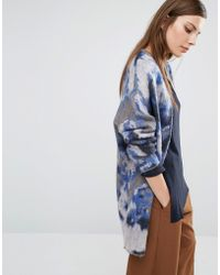 SELECTED - Christel Oversized Cardigan In Blue Marble - Lyst