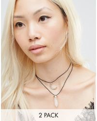 Ashiana - Crescent And Stone Double Layer Choker Necklace - Lyst