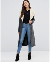 Cooper & Stollbrand - Faux Shearling Collar Marl Coat - Lyst