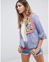 Glamorous - Bed Jacket With Embroidered Panel And Tassle Ties In Chambray - Lyst