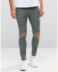 Illusive London - Super Skinny Jeans In Green With Rips - Lyst