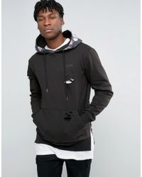 Illusive London - Hoodie With Distressing And Side Zips - Lyst