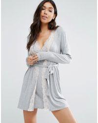 Mango - Jersey Lace Trim Robe - Lyst