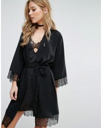 Mango - Lace Trim Robe - Lyst