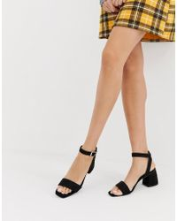Glamorous - Black Block Heeled Sandals - Lyst