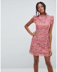 ASOS - Lace Frill Sleeve Mini Dress - Lyst