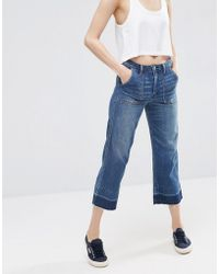 Abercrombie & Fitch - Cropped Wideleg Jean With Released Hem - Medium Blue - Lyst