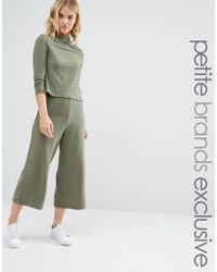 Noisy May Petite - Jersey Wide Leg Culottes Co-ord - Lyst