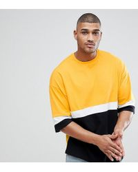 ASOS - Design Tall Longline Oversized T-shirt With Colour Blocking With Yellow - Lyst