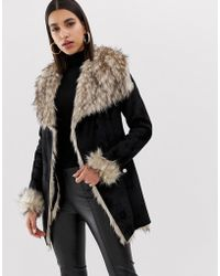 06b99273572 Lipsy Michelle Keegan Loves Pu Jacket With Faux Fur Collar in Blue ...