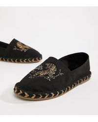 ASOS - Design Wide Fit Black Espadrilles In Black With Tiger Embroidery - Lyst