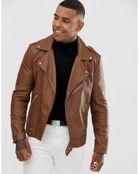 ASOS Leather Biker Jacket In Tan - Brown
