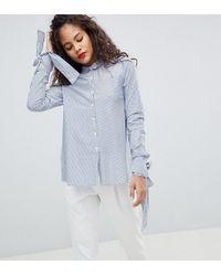 Y.A.S - Tie Sleeve Stripe Shirt - Lyst