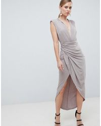 Forever Unique - Slinkyhigh Leg Deep Plunge Midi Dress - Lyst