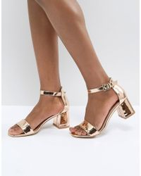 Glamorous - Barely There Mid Heeled Block Sandal In Rose Gold - Lyst