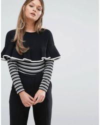 Fashion Union - Frill And Stripe Long Sleeve Body - Lyst