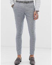 ASOS - Pantalones de traje sper ajustados en lino a cuadros grises de Wedding - Lyst