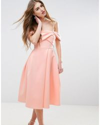 ASOS - Fold Detail Bardot Scuba Prom Dress - Lyst