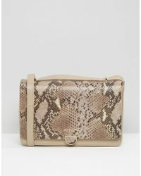 Modalu - Leather Shoulder Bag With Chain Strap In Faux Snakeskin - Lyst