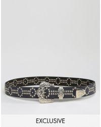 Retro Luxe London | Hand Studded Western Belt - Black | Lyst