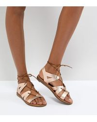 Office - Saffy Rose Gold Leather Gladiator Lace Up Sandals - Lyst
