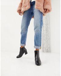 Dune - Head Over Heels Ohana Heeled Ankle Boots In Black Croc - Lyst