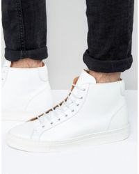 Frank Wright | Logan Hi Top Trainers In White | Lyst