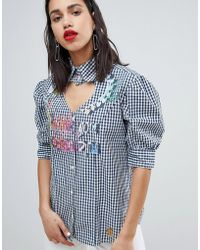Vivienne Westwood Anglomania - Heart Neck Detail Gingham Shirt - Lyst