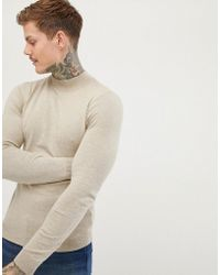 ASOS - Muscle Fit Turtle Neck Jumper In Oatmeal - Lyst