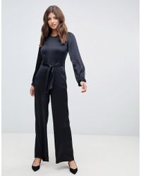 Closet - Puff Sleeve Jumpsuit In Black - Lyst