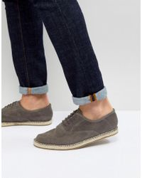 Frank Wright - Lace Up Espadrilles In Grey Suede - Lyst